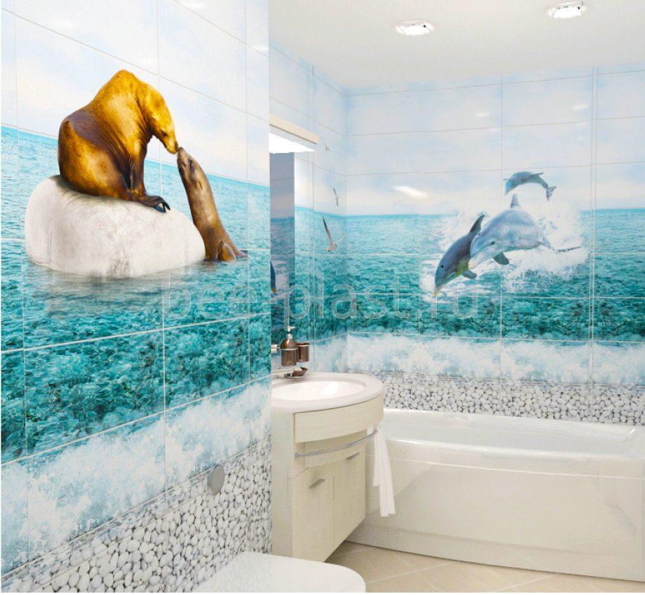 Ванна из панелей с рисунком дельфинов